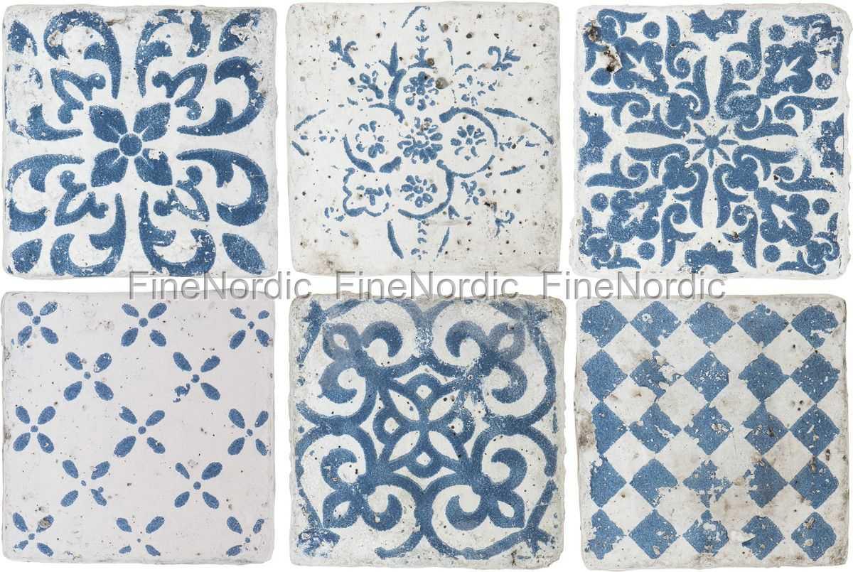 Ib Laursen Fliesen Marrakech - 6er Set Muster in Blau - Small