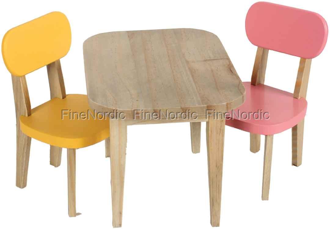 maileg kaninchen holztisch mit 2 st hle gelb und rosa. Black Bedroom Furniture Sets. Home Design Ideas
