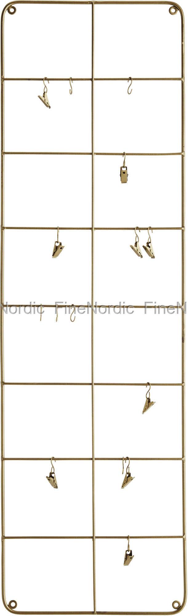 Madam Stoltz Wandrahmen mit Haken und Klemmen 30x100x1 cm